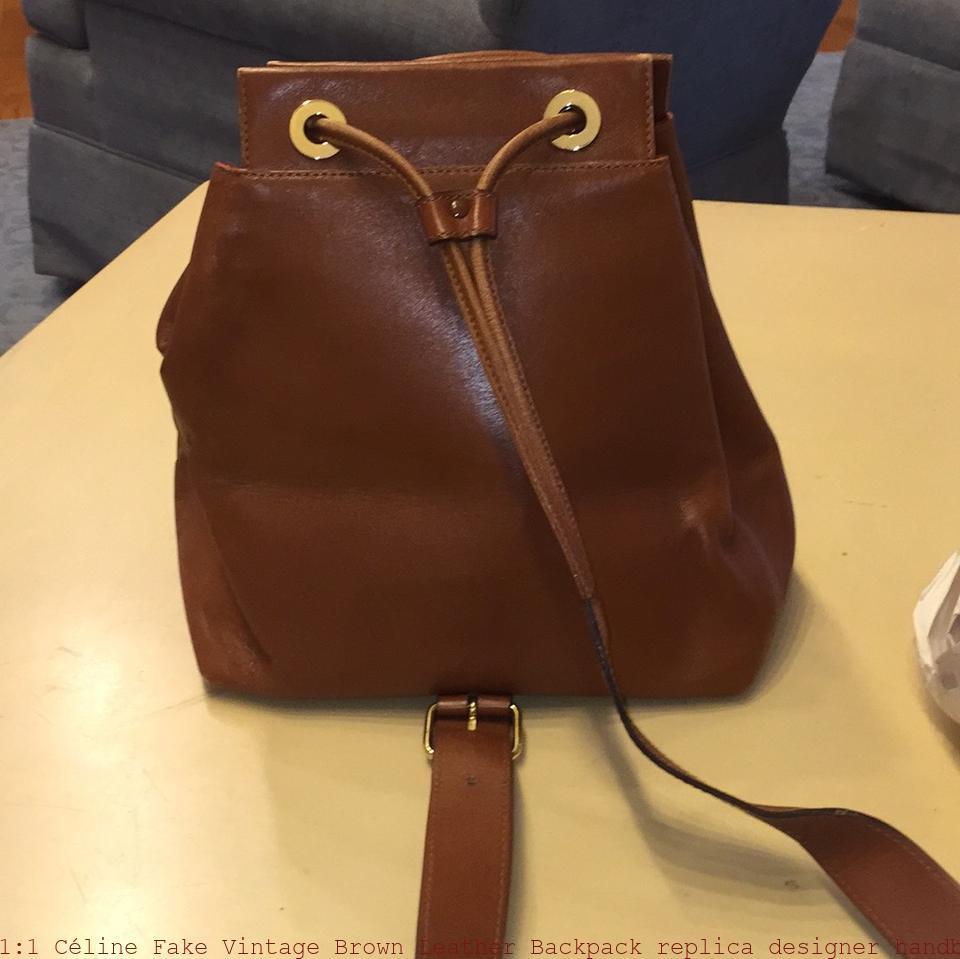 ce8cf649ed02 1 1 Céline Fake Vintage Brown Leather Backpack replica designer handbags uk