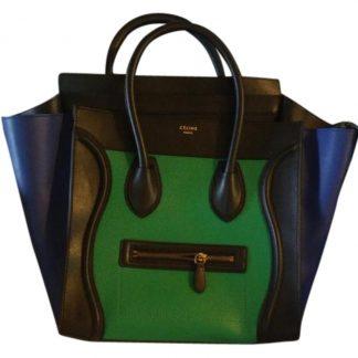 1e5e0c1bf259 AAA Céline 1:1 Mirror Replica Luggage Flash Sale Like New Rare Tricolor  Mini Smiley Tote Black Blue & Green Calfskin Leather Satchel celine big bag