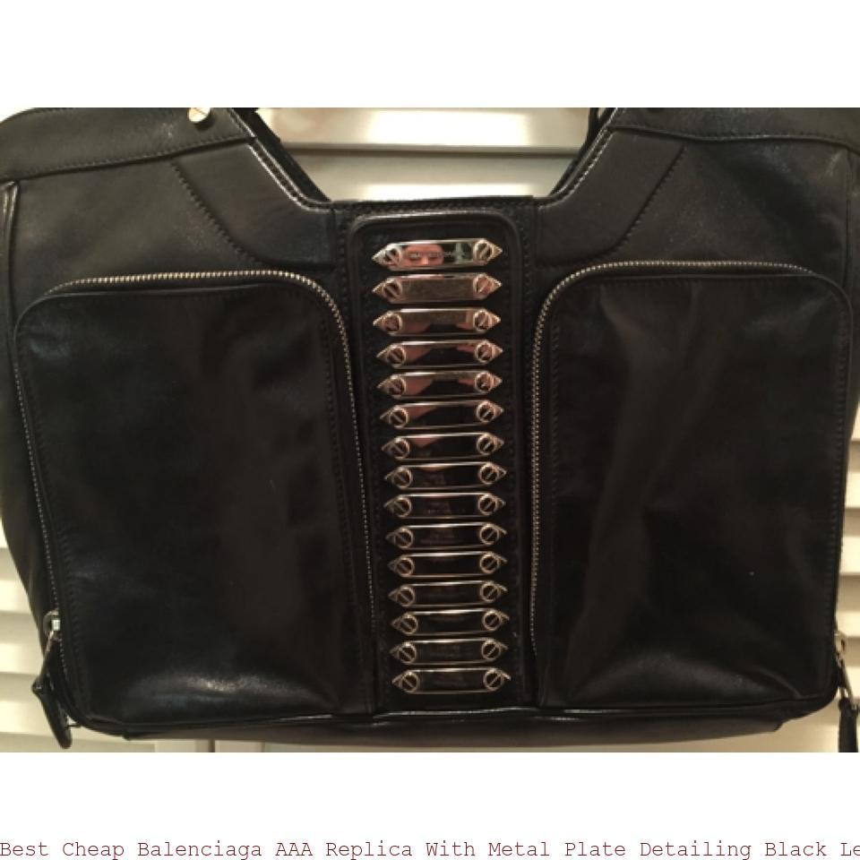 d7e2a46cd Best Cheap Balenciaga AAA Replica With Metal Plate Detailing Black Leather  Satchel balenciaga shoulder bag