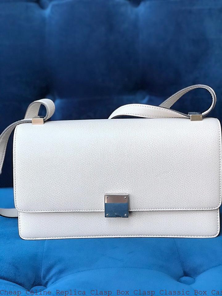 Cheap Céline Replica Clasp Box Clasp Classic Box Case Medium Phw Handbag  Light Gray Leather Shoulder Bag celine replica nano 977a4dbd821d1