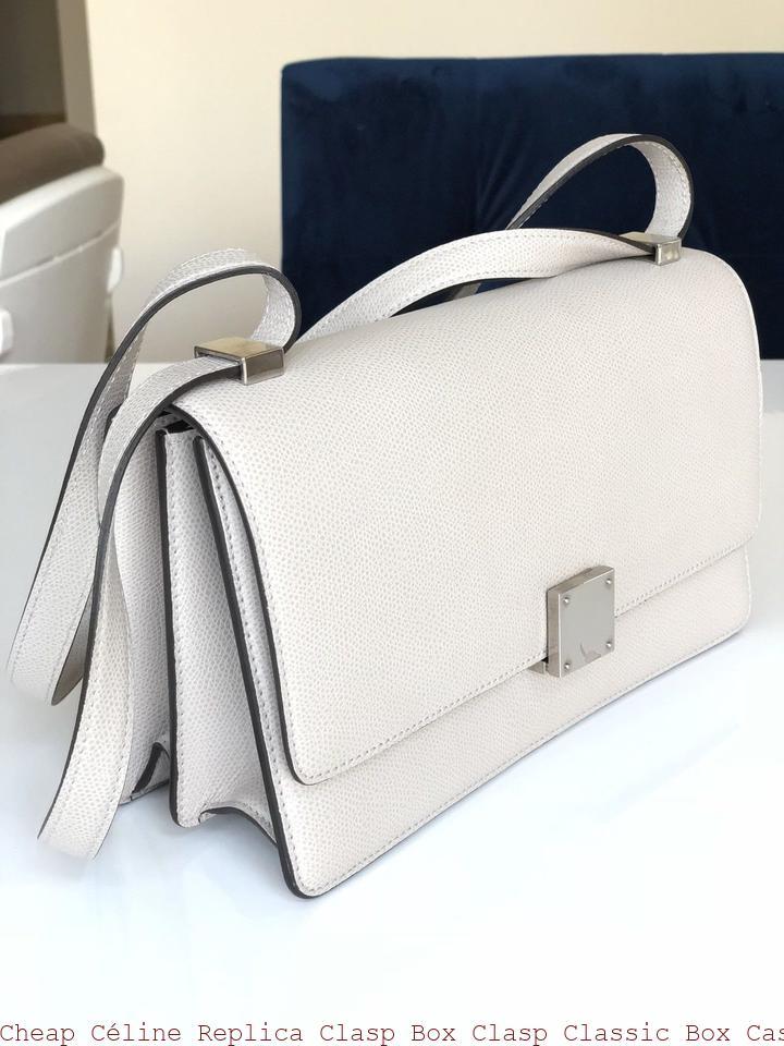 60cc94b5e35e Cheap Céline Replica Clasp Box Clasp Classic Box Case Medium Phw Handbag  Light Gray Leather Shoulder Bag celine replica nano