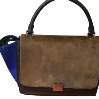 bcb66476f96 UK Céline 1 1 Mirror Replica Trapeze Black Cobalt Blue and Brown Leather  Pony Hair Tote celine replica bag price ...